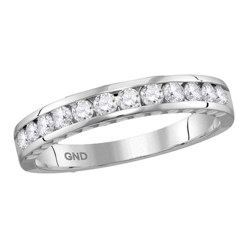 14kt White Gold Womens Round Diamond Wedding Anniversary Band Ring 1/2 Cttw - 114414-9.5