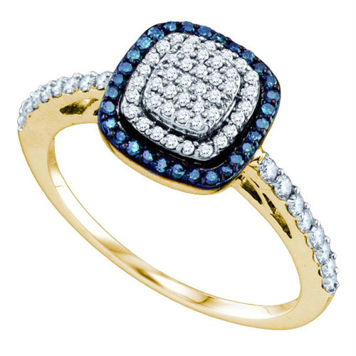 10k Yellow Gold Womens Blue Color Enhanced Diamond Square-shape Cluster Ring 3/8 Cttw