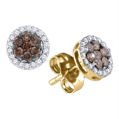 10k Yellow Gold Womens Cognac-brown Color Enhanced Diamond Flower Cluster Screwback Stud Earrings 1/4 Cttw