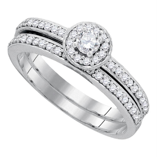 10kt White Gold Womens Round Diamond Bridal Wedding Engagement Ring Band Set 1/2 Cttw - 90874-10.5