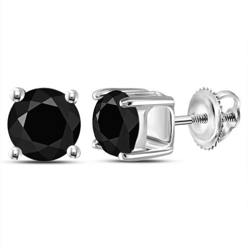 10kt White Gold Unisex Round Black Color Enhanced Diamond Solitaire Stud Earrings 2.00 Cttw