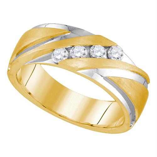 10kt Yellow Gold 2-tone Mens Round Diamond Wedding Band Ring 1/3 Cttw