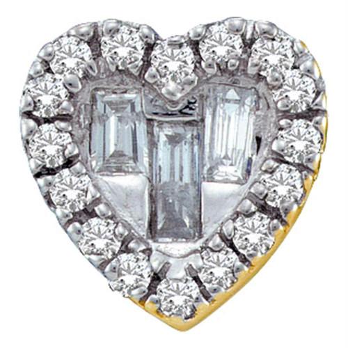 14kt Yellow Gold Womens Baguette Diamond Heart Love Pendant 1/8 Cttw