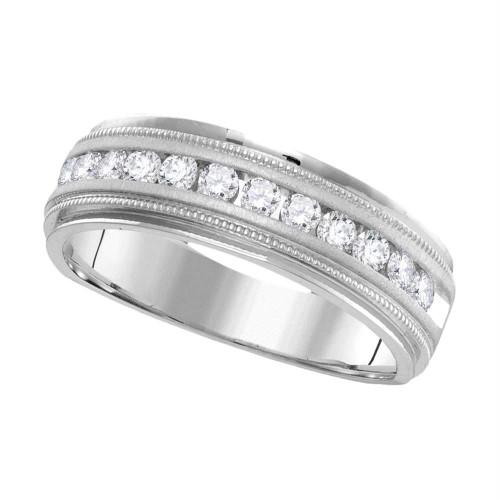 14kt White Gold Mens Round Diamond Wedding Band Ring 1.00 Cttw - 95692-11