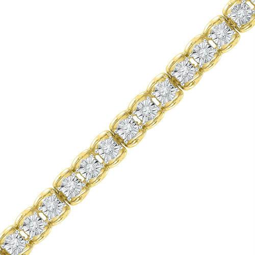 10kt Yellow Gold Womens Round Diamond Tennis Bracelet 1/2 Cttw - 101721