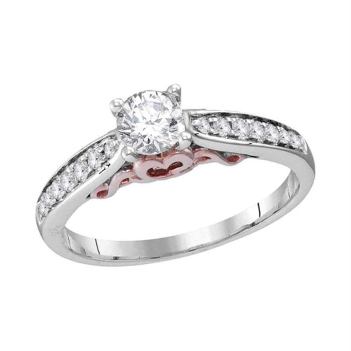 14kt White Gold Womens Round Diamond Solitaire Bridal Wedding Engagement Ring 5/8 Cttw - 113630-10.5