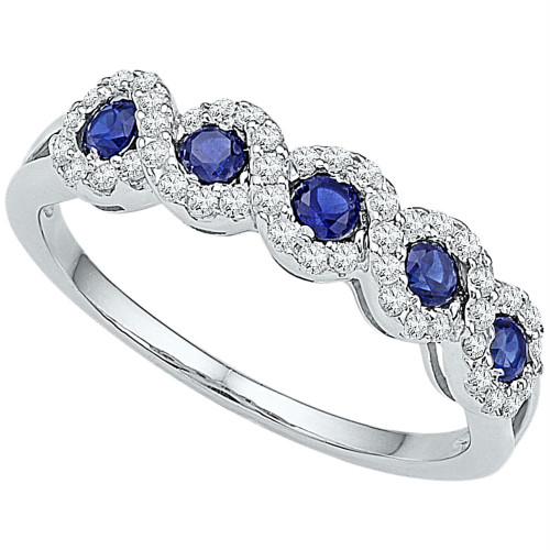 10kt White Gold Womens Round Lab-Created Blue Sapphire Band Ring 1/2 Cttw - 99812-11
