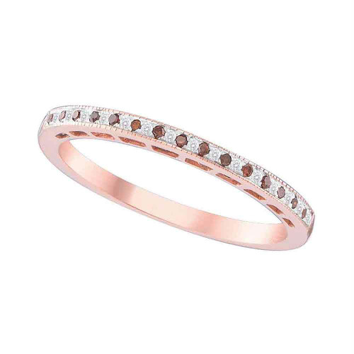 10kt Rose Gold Womens Round Red Color Enhanced Diamond Slender Band Ring 1/12 Cttw