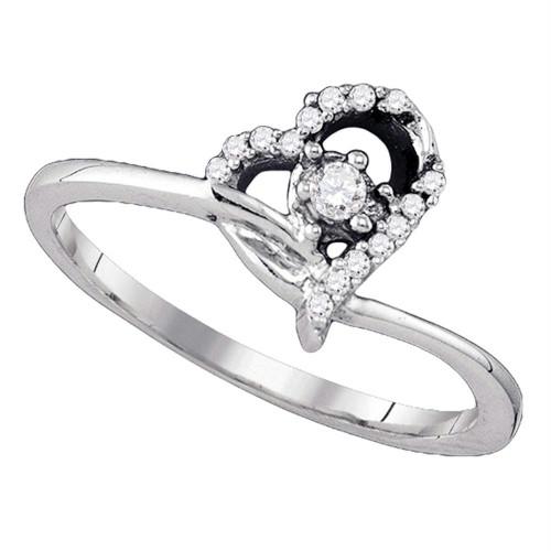 10k White Gold Round Diamond Womens Heart Dainty Promise Bridal Engagement Ring 1/10 Cttw