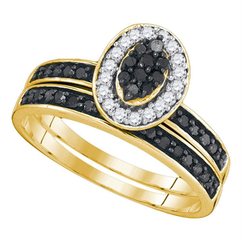 10k Yellow Gold Black Color Enhanced Diamond Womens Cluster Wedding Bridal Engagement Ring Band Set 1/2 Cttw