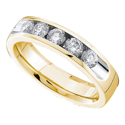 14kt Yellow Gold Womens Round Channel-set Diamond Single Row Wedding Band 1/2 - 40837-6.5
