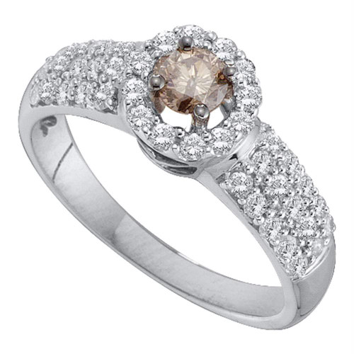 14kt White Gold Womens Round Cognac-brown Color Enhanced Diamond Solitaire Halo Bridal Wedding Engagement Ring 3/4 Cttw