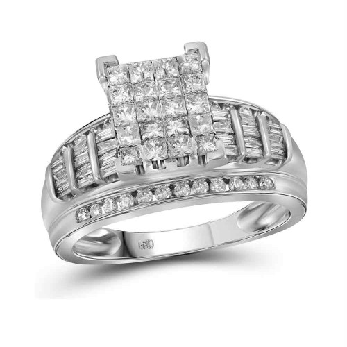 14kt White Gold Womens Princess Diamond Cluster Bridal Wedding Engagement Ring 2.00 Cttw - 21042