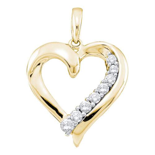 14kt Yellow Gold Womens Round Diamond Heart Love Pendant 1/4 Cttw