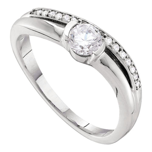 14kt White Gold Womens Round Diamond Solitaire Bridal Wedding Engagement Ring 3/8 Cttw - 52976-10.5