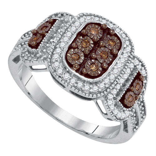 10kt White Gold Womens Round Cognac-brown Color Enhanced Diamond Cluster Ring 1/3 Cttw - 87164-7