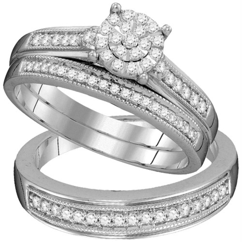 10kt White Gold His & Hers Round Diamond Cluster Matching Bridal Wedding Ring Band Set 3/8 Cttw - 105939-5.5