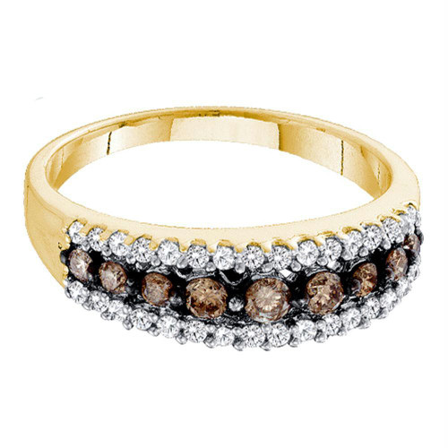 10k Yellow Gold Womens Cognac-brown Color Enhanced Diamond Band Ring 1/2 Cttw Size 5