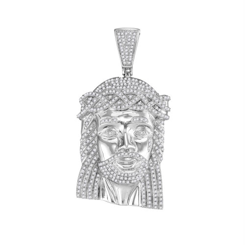 10kt White Gold Mens Round Diamond Jesus Head Messiah Charm Pendant 1-5/8 Cttw