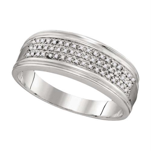 10kt White Gold Mens Round Diamond Triple Row Wedding Anniversary Band Ring 1/10 Cttw