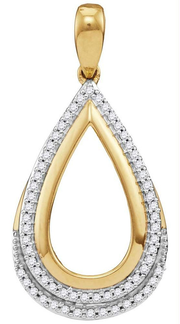 10kt Yellow Gold Womens Round Diamond Teardrop Frame Cutout Pendant 1/6 Cttw