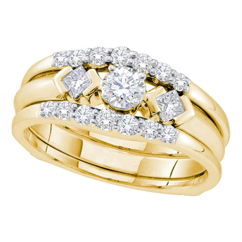 14kt Yellow Gold Womens Round Diamond 3-Stone Bridal Wedding Engagement Ring Band Set 3/4 Cttw