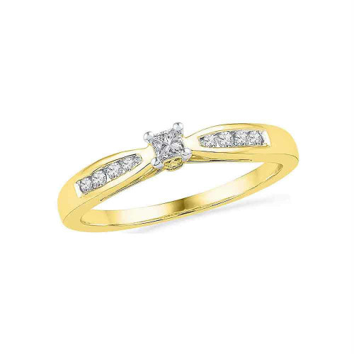 10kt Yellow Gold Womens Round Diamond Solitaire Promise Bridal Ring 1/5 Cttw - 100454-9.5