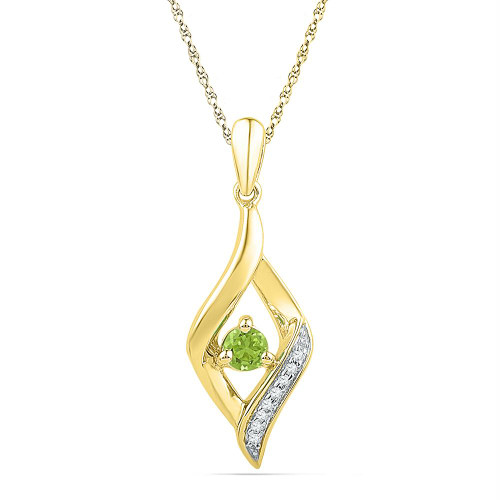 10k Yellow Gold Womens Lab-Created Peridot & Diamond Pendant 1/5 Cttw