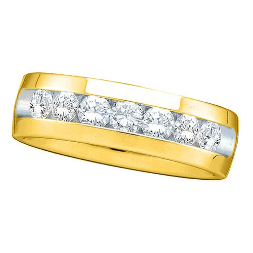 14kt Yellow Gold Mens Round Channel-set Diamond Wedding Anniversary Band Ring 1/4 Cttw - 40884-9.5