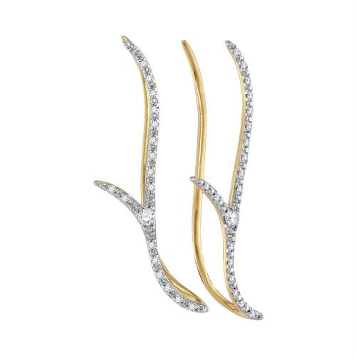 10kt Yellow Gold Womens Round Diamond Slender Climber Earrings 1/5 Cttw