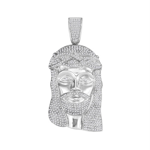 10kt White Gold Mens Round Diamond Jesus Christ Messiah Head Charm Pendant 3.00 Cttw