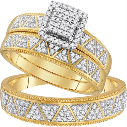 10kt Yellow Gold His & Hers Round Diamond Square Cluster Matching Bridal Wedding Ring Band Set 1/2 Cttw - 110460-10