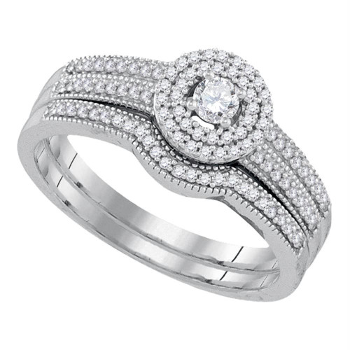 10k White Gold Womens Round Diamond Halo Bridal Wedding Engagement Ring Band Set 1/3 Cttw - 92158-5