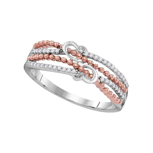 10kt White Gold Womens Round Diamond Heart Love Roped 2-tone Rose Band Ring 1/8 Cttw