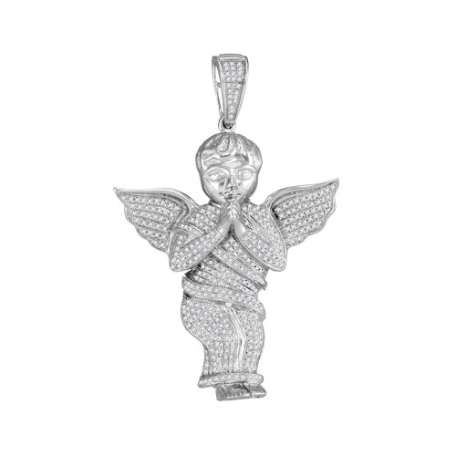 10kt White Gold Mens Round Diamond Angel Cherub Charm Pendant 1.00 Cttw