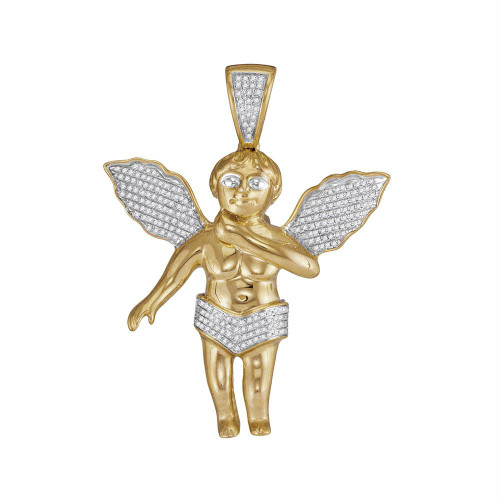 "10k Yellow Gold Diamond Mens Polished 3D Guardian Angel Cherub Large 2.2"" Charm Pendant 1/2 Cttw"