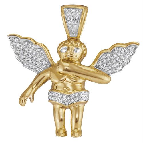 10k Yellow Gold Mens Diamond Polished 3D Guardian Angel Cherub Charm Pendant 1/6 Cttw