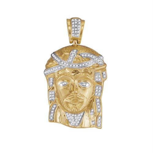 10k Yellow Gold Mens Real Diamond Jesus Christ Piece Large Charm Pendant 1/4 Cttw