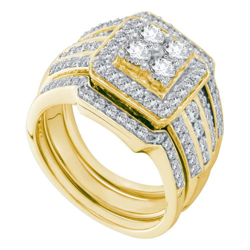 14kt Yellow Gold Womens Round Diamond Halo 3-Piece Bridal Wedding Engagement Ring Band Set 1-1/2 Cttw