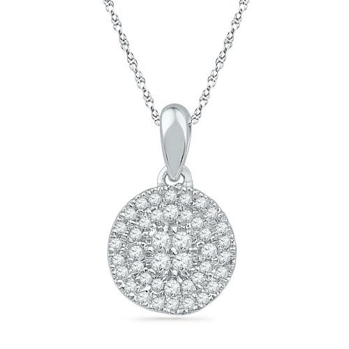 10kt White Gold Womens Round Diamond Circle Cluster Pendant 1/4 Cttw