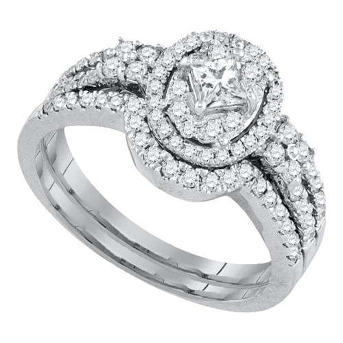 14kt White Gold Womens Diamond Princess Bridal Wedding Engagement Ring Band Set 7/8 Cttw