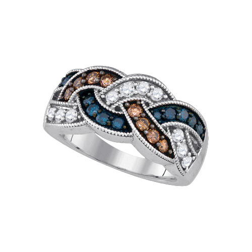 10kt White Gold Womens Round Brown Blue Color Enhanced Diamond Woven Band Ring 1.00 Cttw