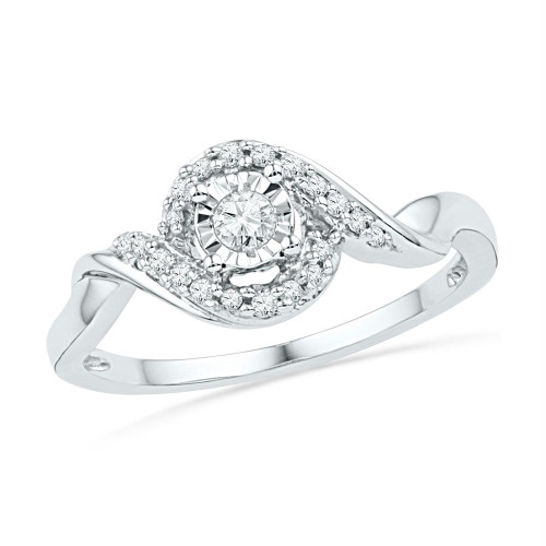 10kt White Gold Womens Round Diamond Solitaire Twist Promise Bridal Ring 1/6 Cttw - 100738-7.5