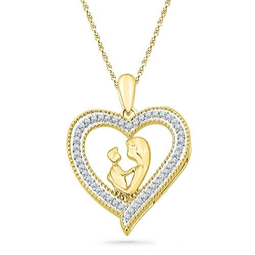 10k Yellow Gold Round Diamond Womens Heart Love Mother Child Embrace Pendant 1/5 Cttw