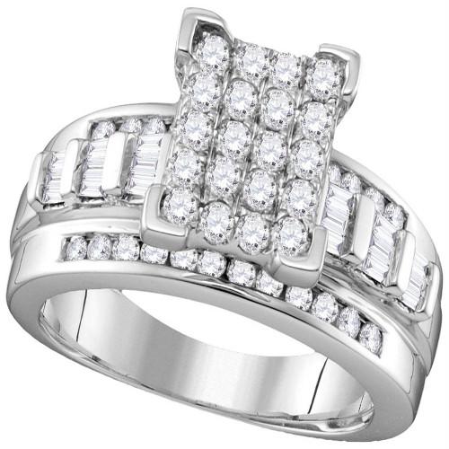10k White Gold Diamond Cindy's Dream Cluster Bridal Wedding Engagement Ring 2 Cttw - Size 7