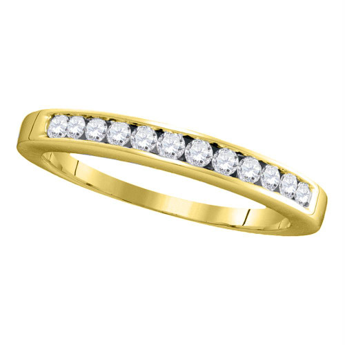 14kt Yellow Gold Womens Round Channel-set Diamond Single Row Wedding Band 1/4 Cttw - 14476-7.5