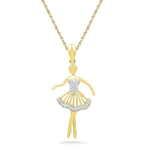 10kt Yellow Gold Womens Round Diamond Ballerina Dancer Fashion Pendant 1/10 Cttw