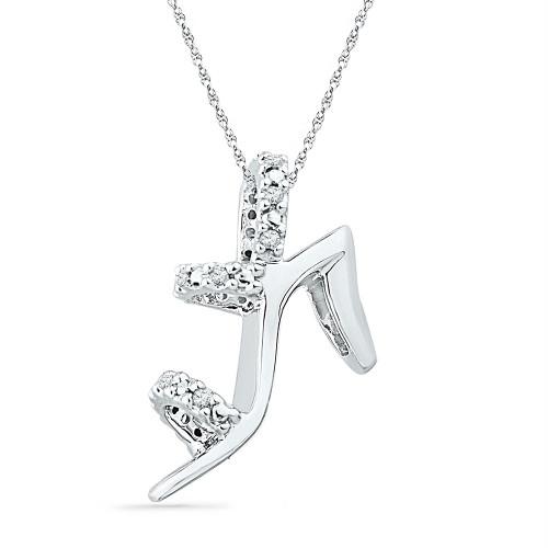 10kt White Gold Womens Round Diamond Stiletto Shoe Pendant 1/20 Cttw