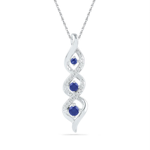 10kt White Gold Womens Round Lab-Created Blue Sapphire Cascading 3-stone Pendant 1/3 Cttw