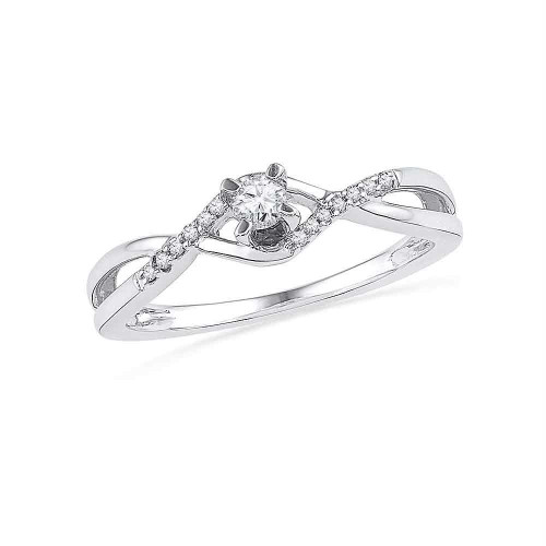 10kt White Gold Womens Round Diamond Solitaire Twist Bridal Wedding Engagement Ring 1/6 Cttw - 101495-9